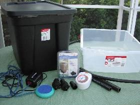 supplies for a small ebb and flow setup